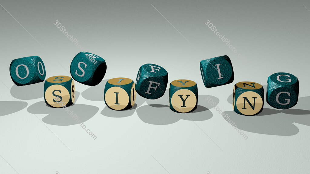 ossifying text by dancing dice letters