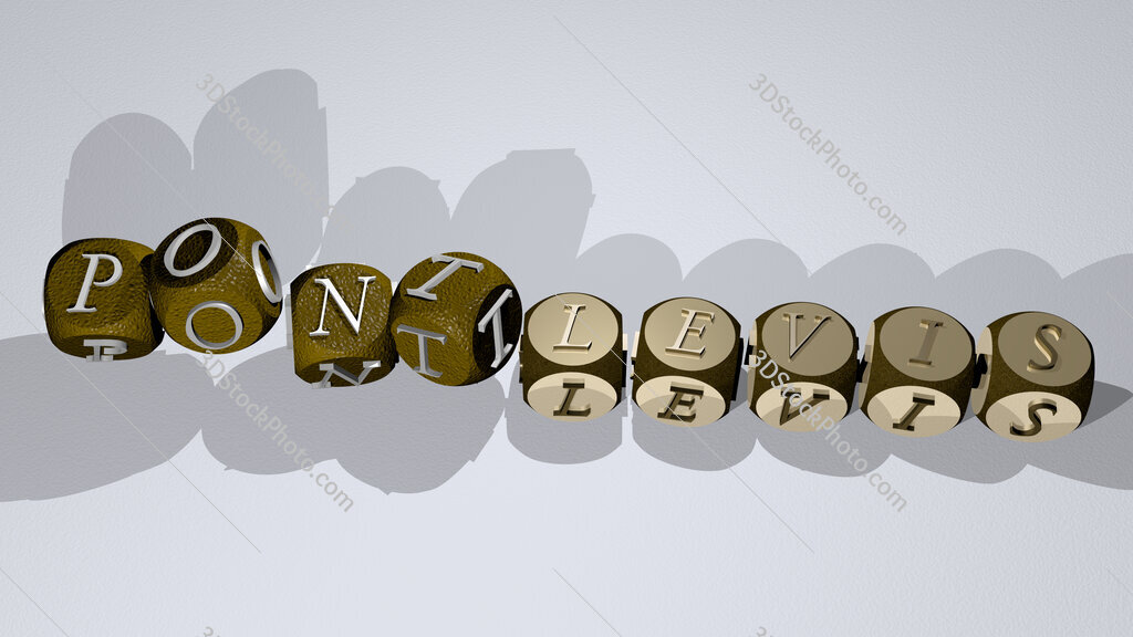 pontlevis text by dancing dice letters