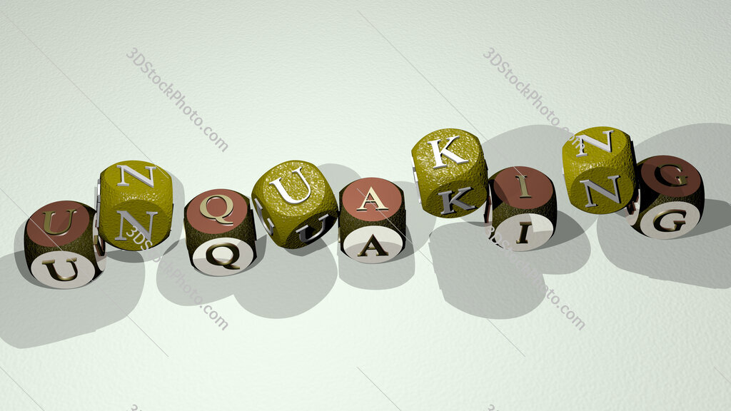 unquaking text by dancing dice letters