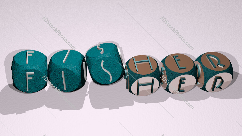 Fisher text by dancing dice letters