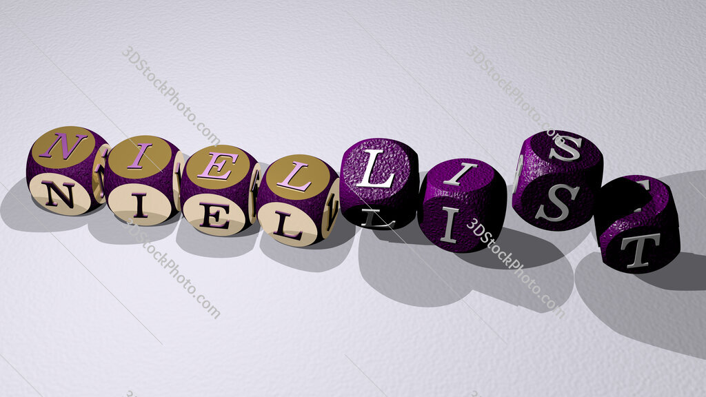 niellist text by dancing dice letters