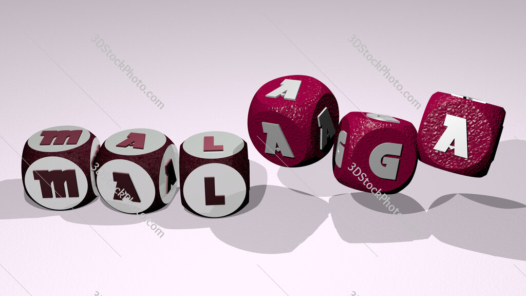 malaga text by dancing dice letters