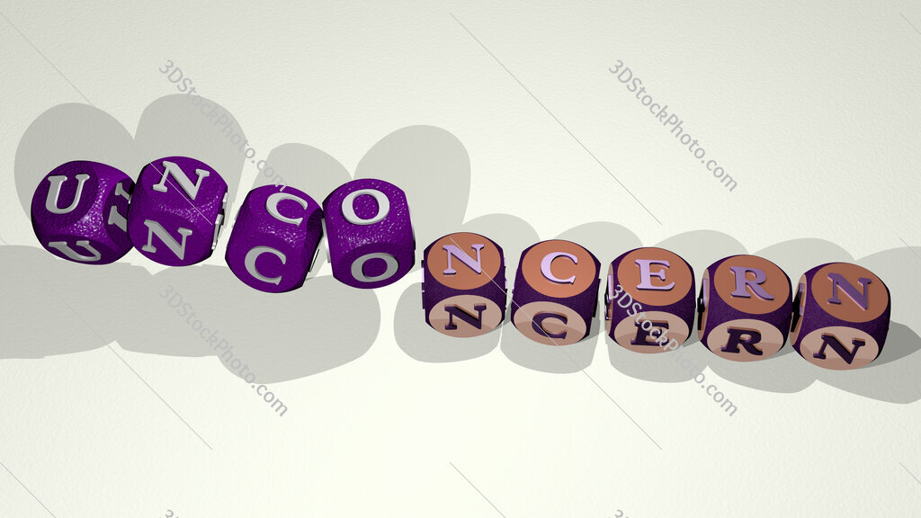 unconcern text by dancing dice letters