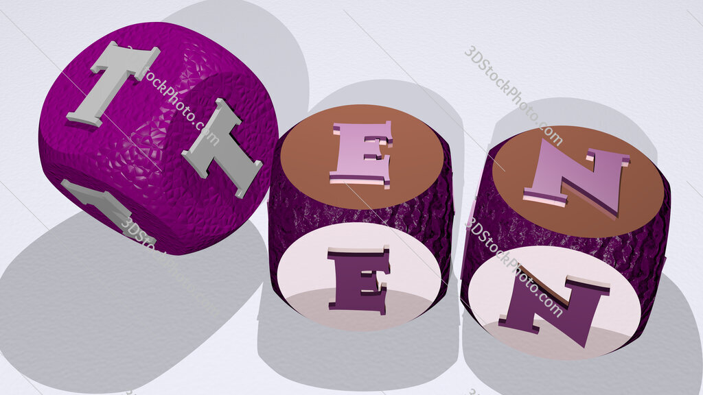 Ten text by dancing dice letters