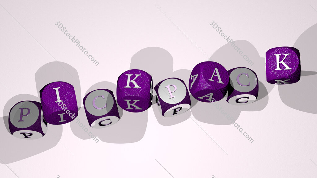 pickpack text by dancing dice letters