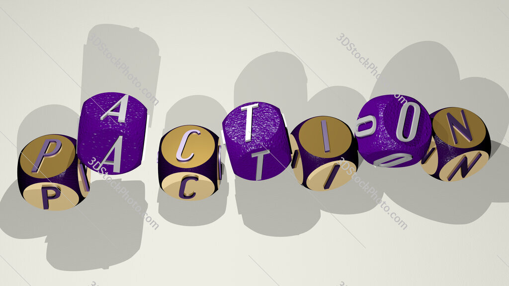paction text by dancing dice letters