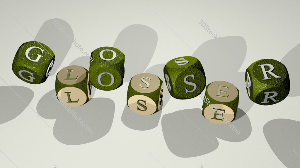 glosser text by dancing dice letters