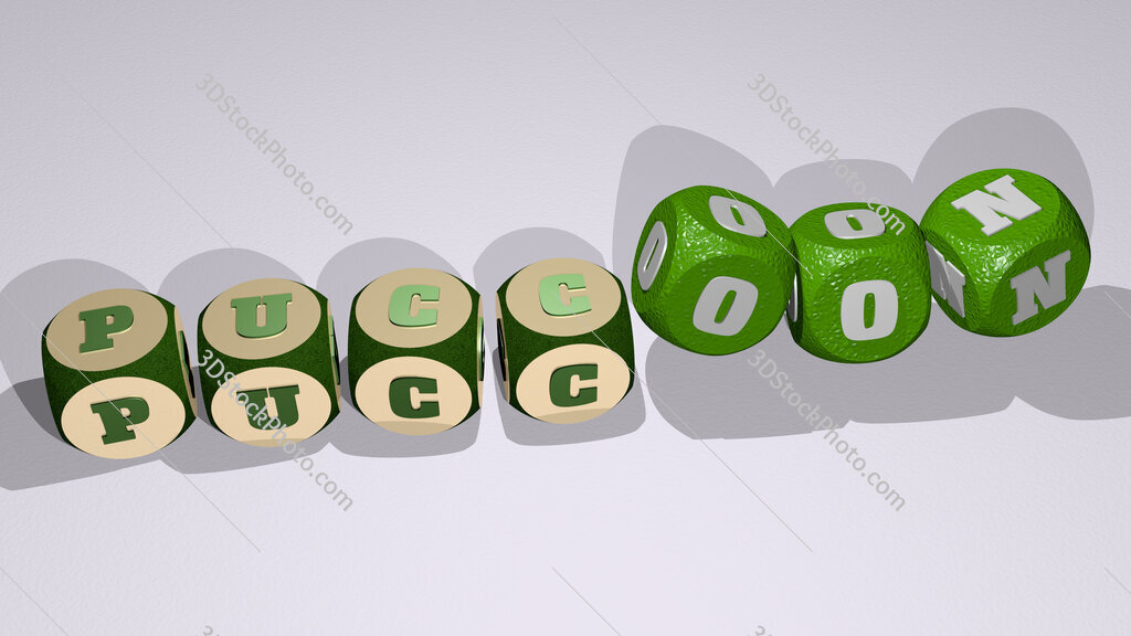 puccoon text by dancing dice letters