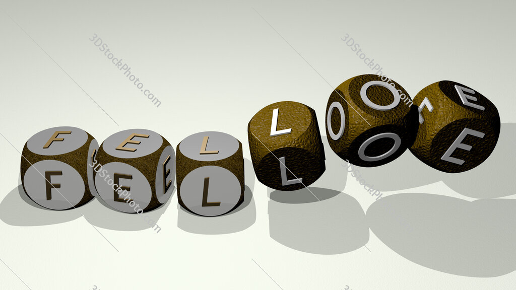 felloe text by dancing dice letters