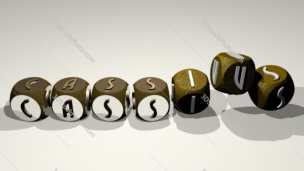 cassius text by dancing dice letters