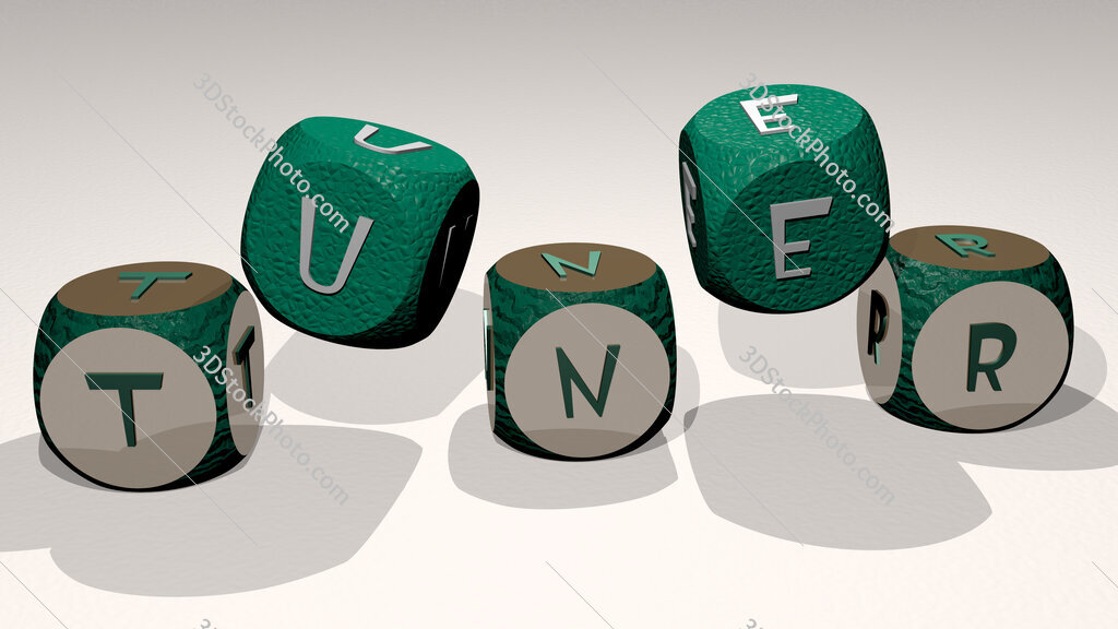 Tuner text by dancing dice letters