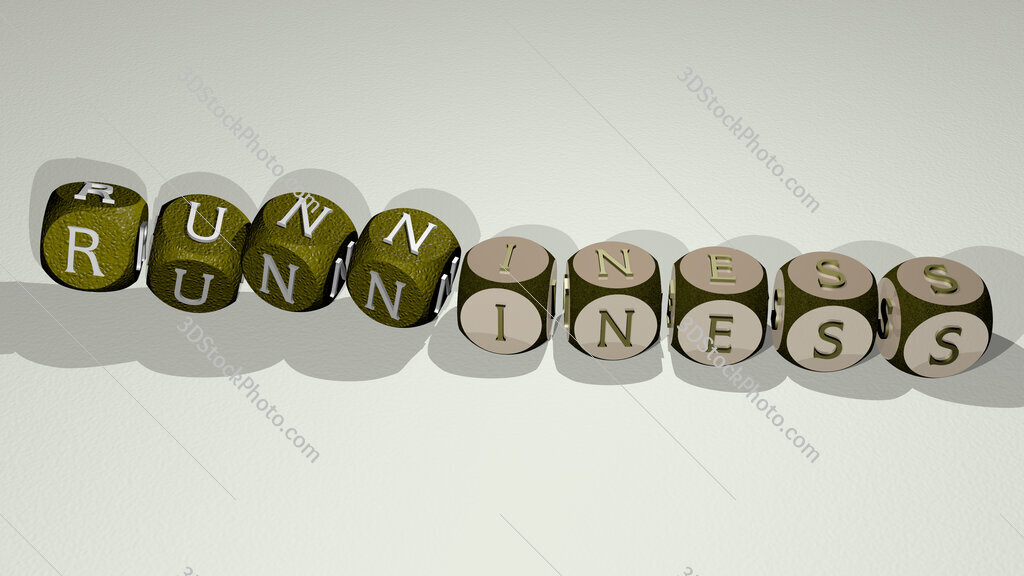 runniness text by dancing dice letters