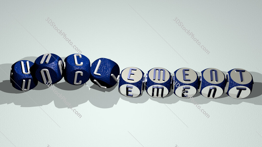unclement text by dancing dice letters