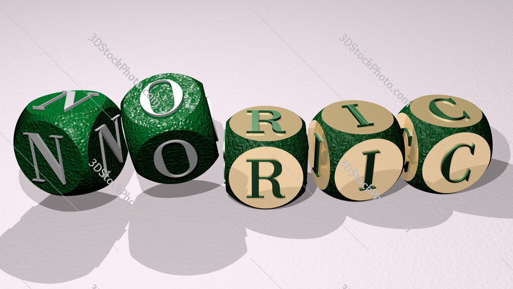 Noric text by dancing dice letters