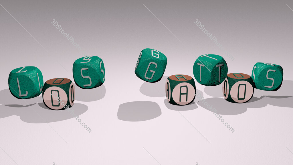 Los Gatos text by dancing dice letters