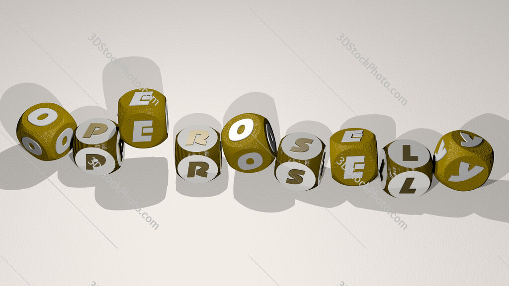 operosely text by dancing dice letters
