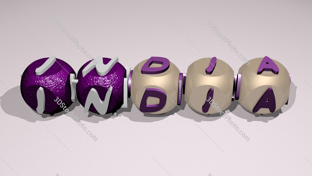 india text of cubic individual letters