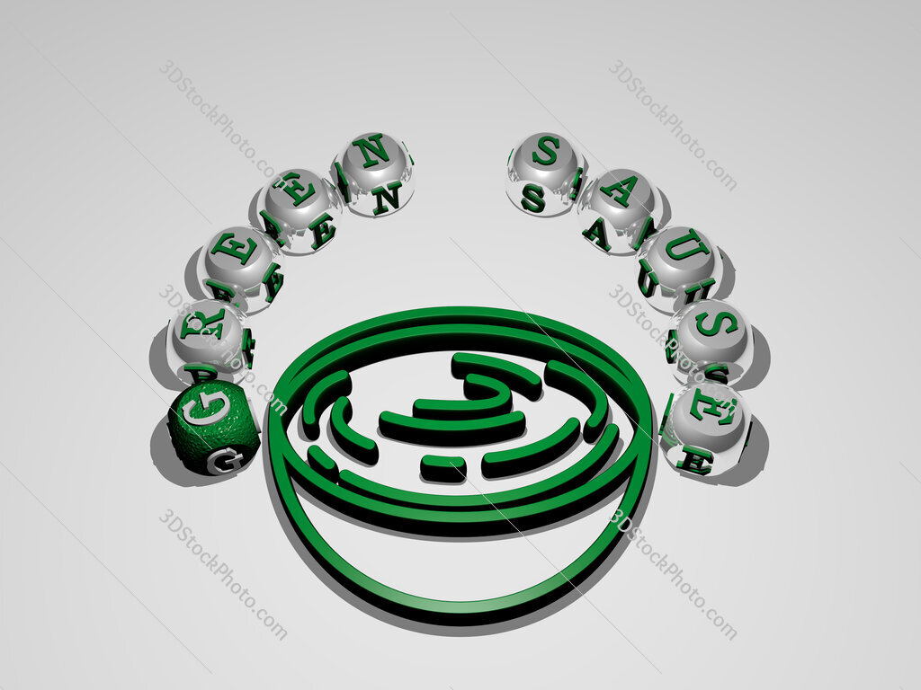 green sause circular text of separate letters around the 3D icon