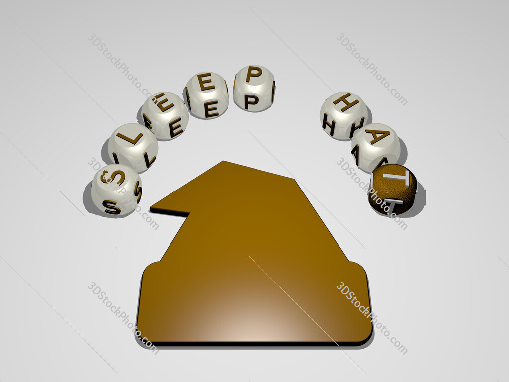 sleep hat circular text of separate letters around the 3D icon