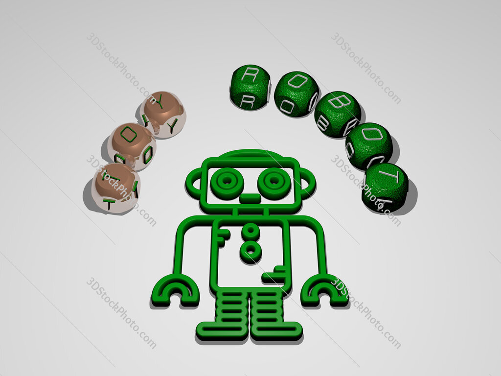 toy robot circular text of separate letters around the 3D icon