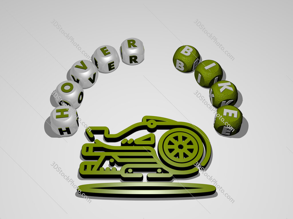 hover bike circular text of separate letters around the 3D icon