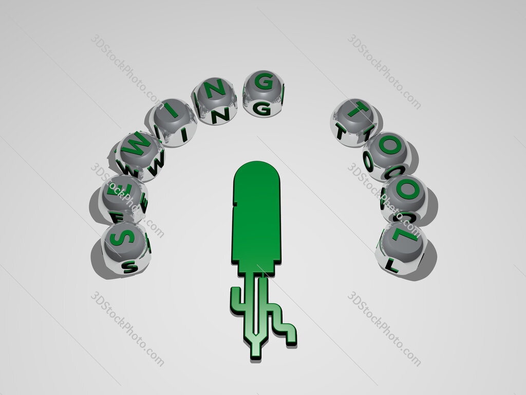 sewing tool circular text of separate letters around the 3D icon