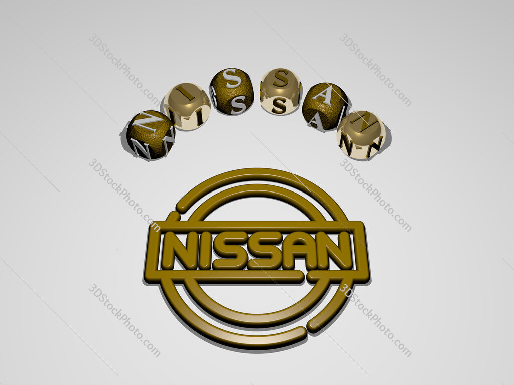 Nissan circular text of separate letters around the 3D icon