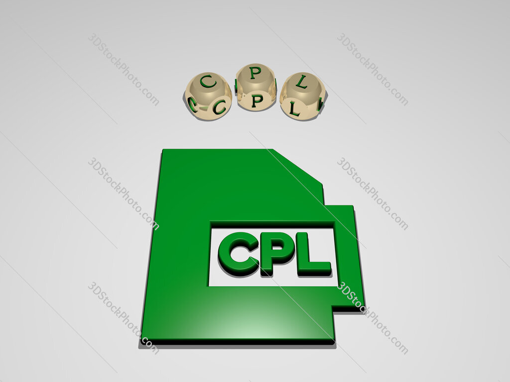 cpl circular text of separate letters around the 3D icon