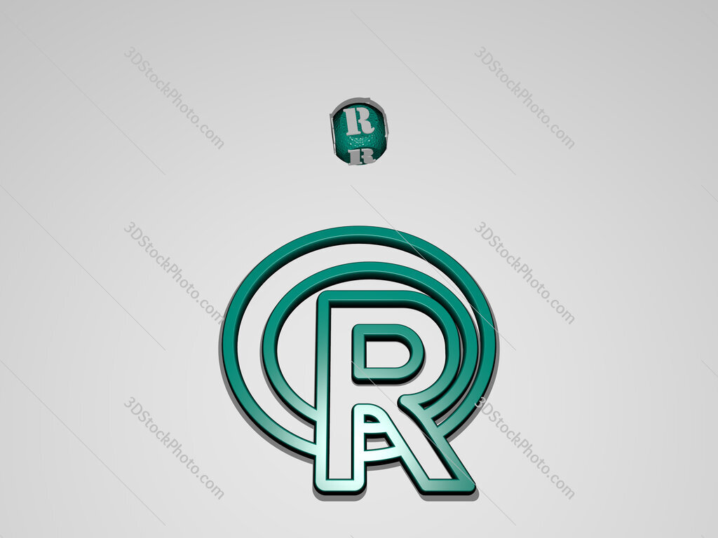 r circular text of separate letters around the 3D icon