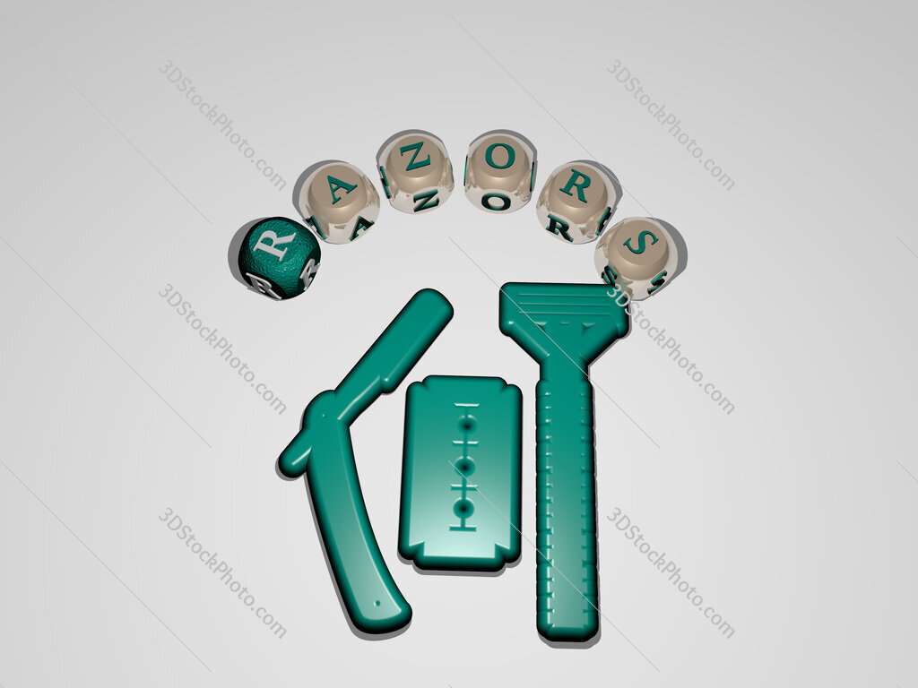 razors circular text of separate letters around the 3D icon