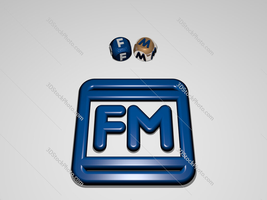 fm circular text of separate letters around the 3D icon