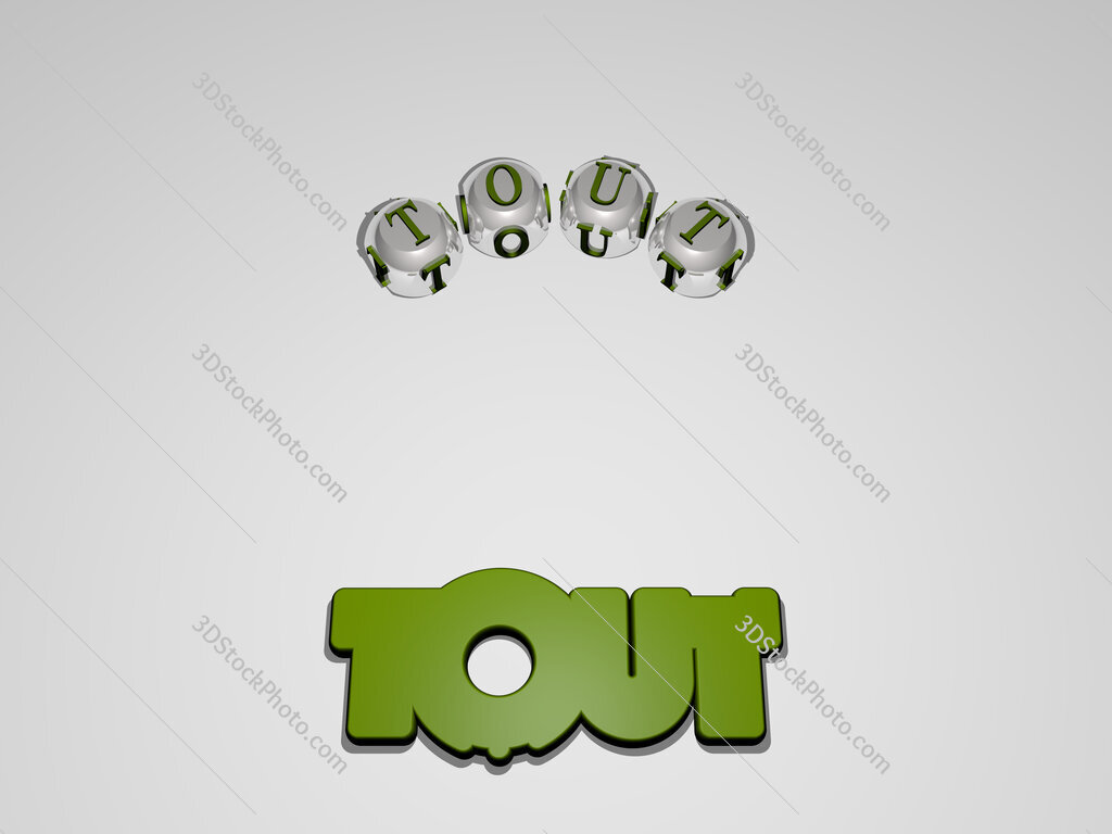 tout circular text of separate letters around the 3D icon