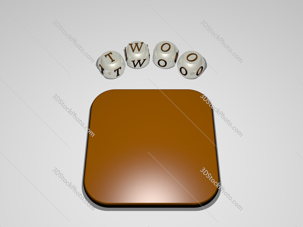 twoo circular text of separate letters around the 3D icon
