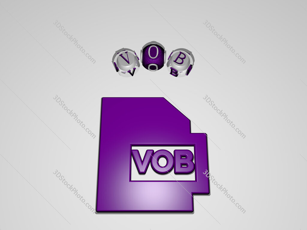 vob circular text of separate letters around the 3D icon