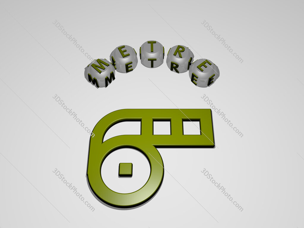 metre circular text of separate letters around the 3D icon