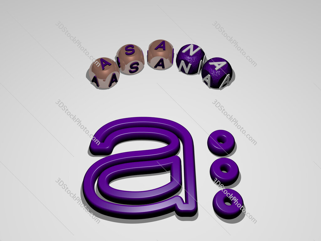 asana circular text of separate letters around the 3D icon