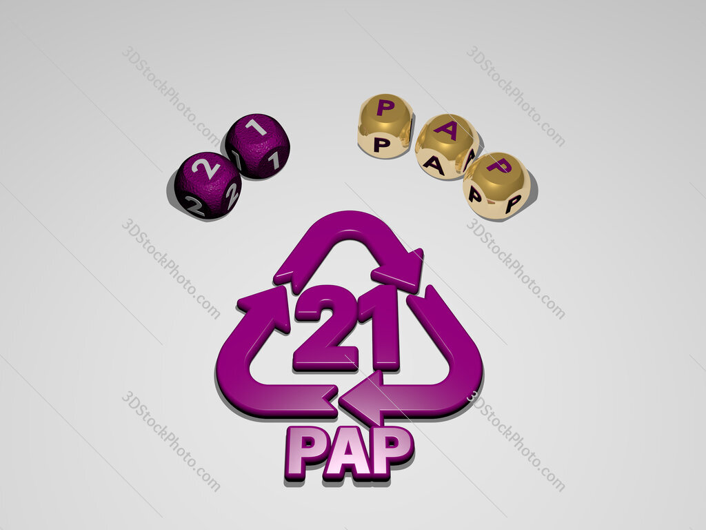 21 pap circular text of separate letters around the 3D icon