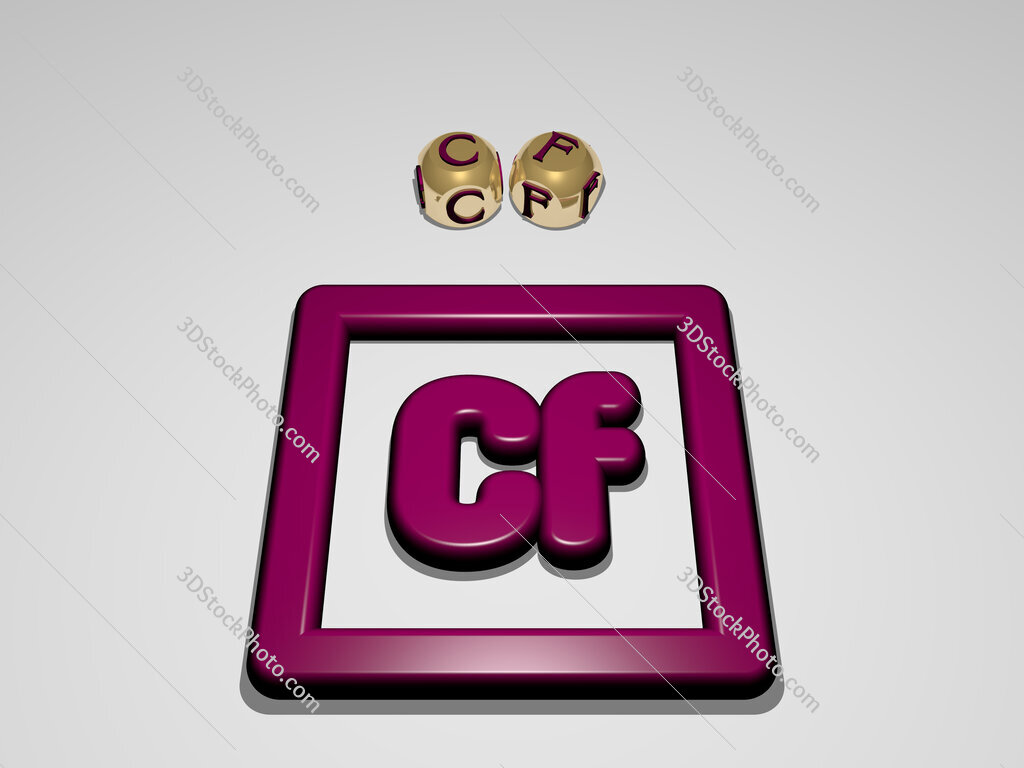 cf circular text of separate letters around the 3D icon