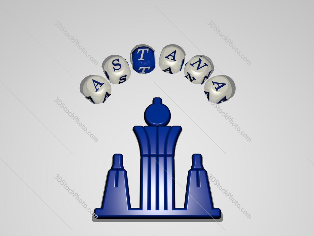 astana circular text of separate letters around the 3D icon