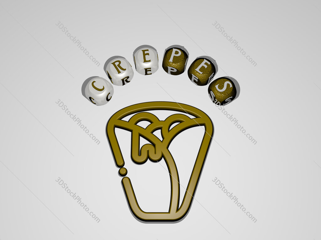 crepes circular text of separate letters around the 3D icon
