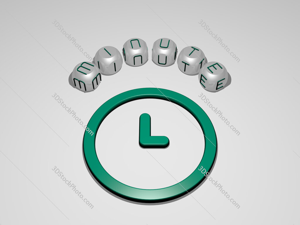 minute circular text of separate letters around the 3D icon