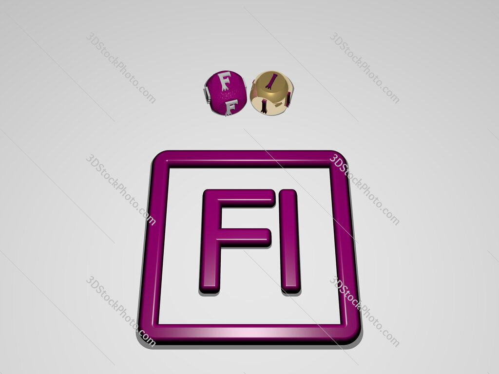 fi circular text of separate letters around the 3D icon