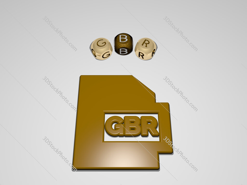 gbr circular text of separate letters around the 3D icon