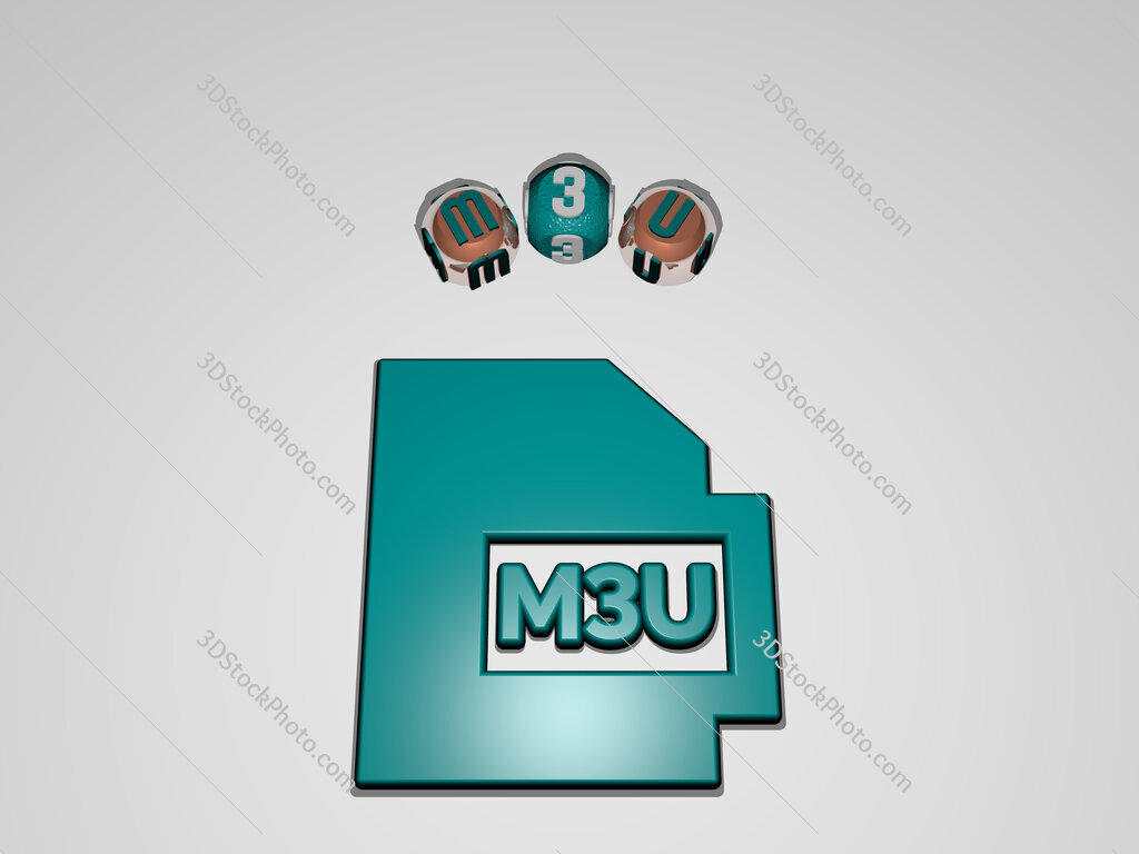 m3u circular text of separate letters around the 3D icon