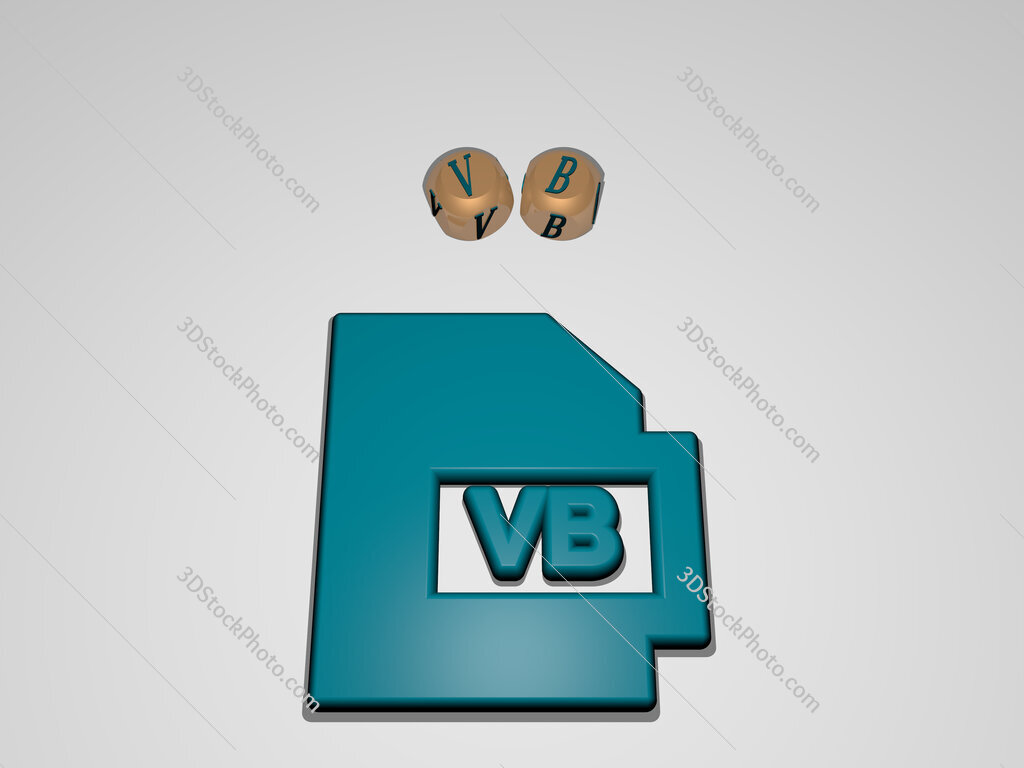 VB circular text of separate letters around the 3D icon
