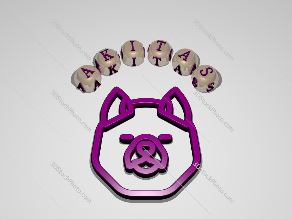 akitas circular text of separate letters around the 3D icon
