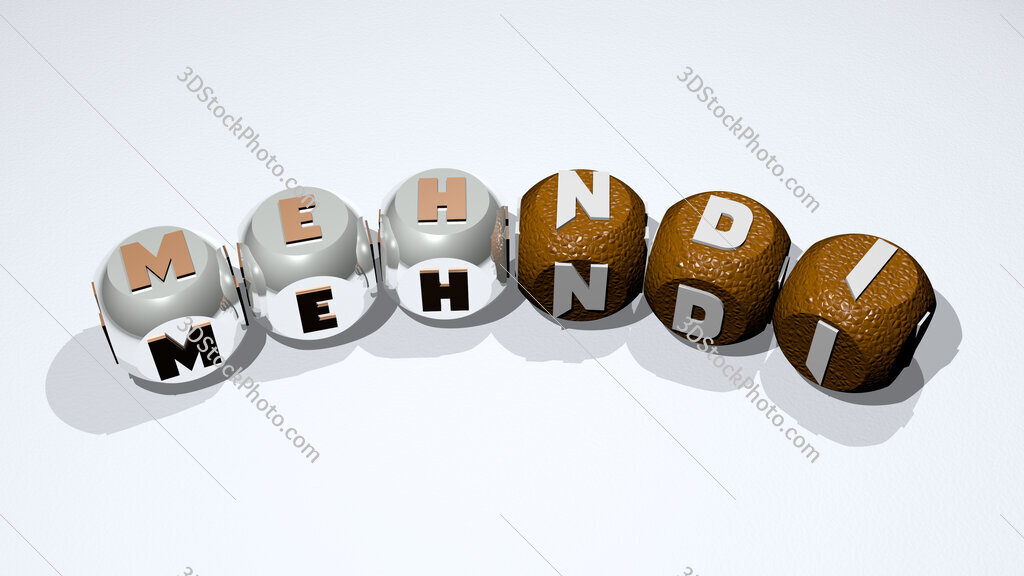 mehndi text of dice letters with curvature