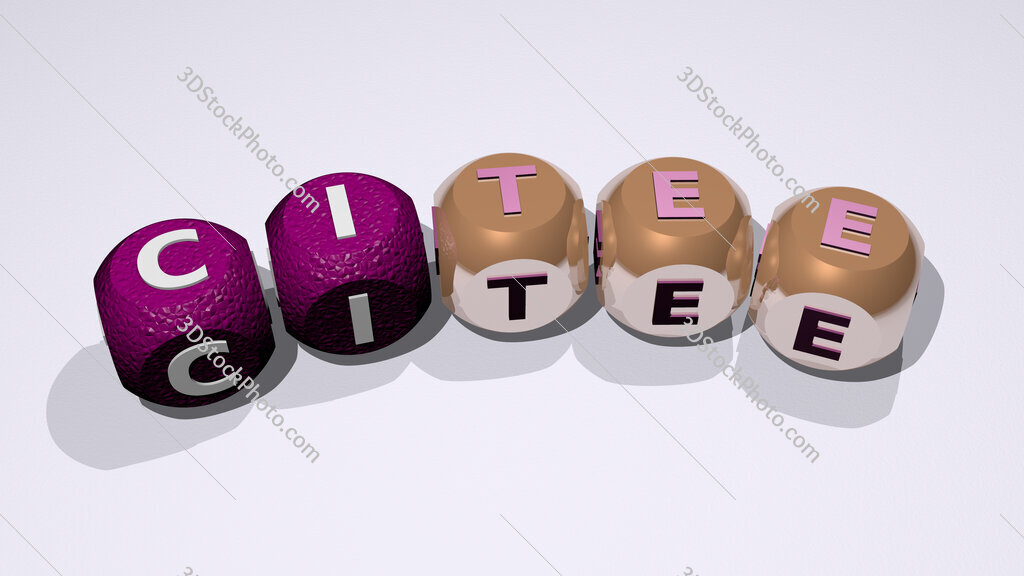 citee text of dice letters with curvature
