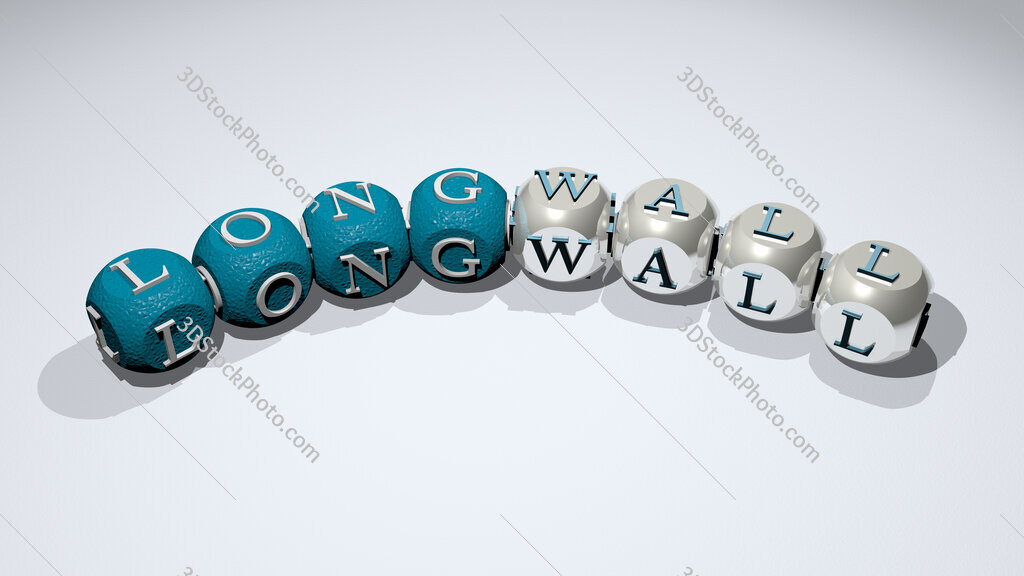 longwall text of dice letters with curvature