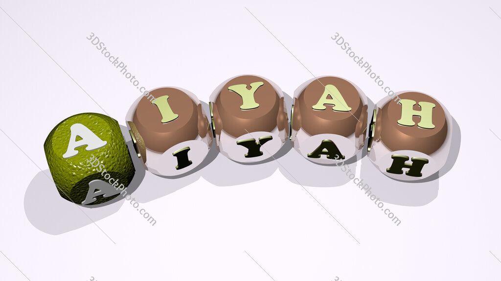 aiyah text of dice letters with curvature